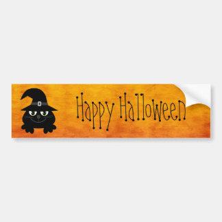 Cute Cartoon Cat Happy Halloween Orange Car Bumper Sticker