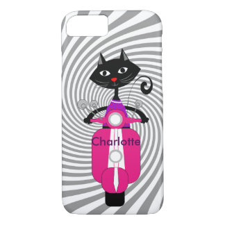 Cute Cartoon Cat On Retro Scooter Personalized iPhone 8/7 Case