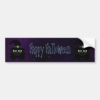 Cute Cartoon Cats Happy Halloween Magical Sky Car Bumper Sticker