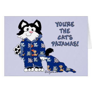 Cute Cartoon Cats Pajamas Greeting Card