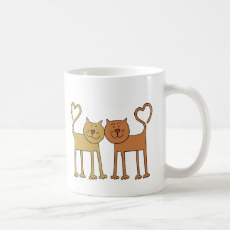 Cute Cartoon Cats with Tails Curved to Hearts Basic White Mug