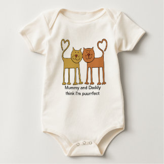 Cute Cartoon Cats with Tails Curved to Hearts Baby Bodysuits