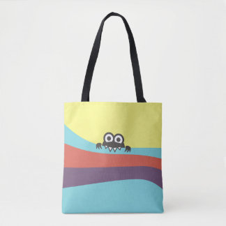 Cute Cartoon Character With Sharp Teeth Colorful Tote Bag