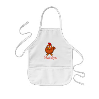 Cute cartoon chicken personalized with childs name kids apron