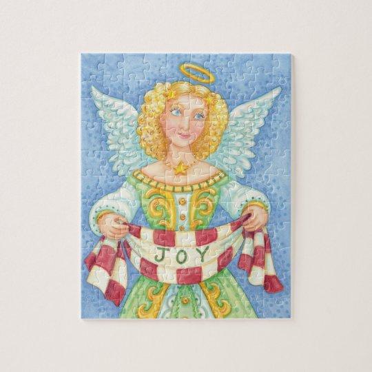 Cute Cartoon Christmas Angel Halo with Joy Banner Jigsaw Puzzle