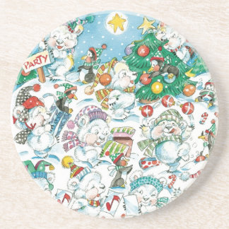 Cute Cartoon Christmas Polar Bear Penguin Party Coaster