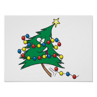 cute cartoon christmas tree character posters