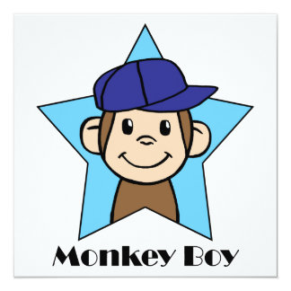 Cute Cartoon Clip Art Happy Monkey in Star w Hat 13 Cm X 13 Cm Square Invitation Card