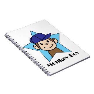Cute Cartoon Clip Art Happy Monkey in Star w Hat Spiral Note Books