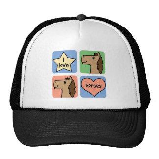 Cute Cartoon Clip Art I Love Horses Smileys Mesh Hats