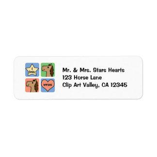 Cute Cartoon Clip Art I Love Horses Smileys Return Address Label