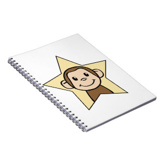 Cute Cartoon Clip Art Monkey with Grin Smile Star Spiral Notebooks