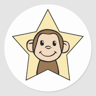 Cute Cartoon Clip Art Monkey with Grin Smile Star Round Stickers