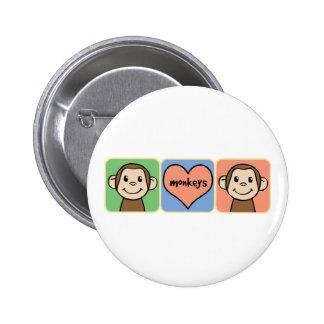 Cute Cartoon Clip Art Monkeys with Heart Love Pinback Button