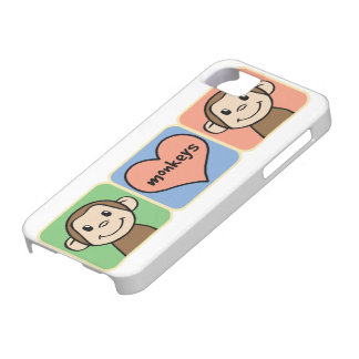 Cute Cartoon Clip Art Monkeys with Heart Love Case For The iPhone 5