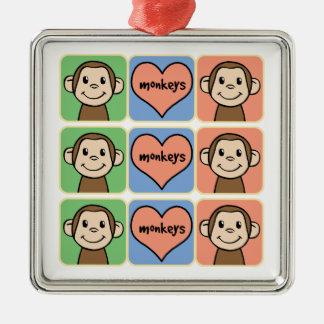 Cute Cartoon Clip Art Monkeys with Heart Love Christmas Ornament