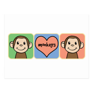 Cute Cartoon Clip Art Monkeys with Heart Love Postcard