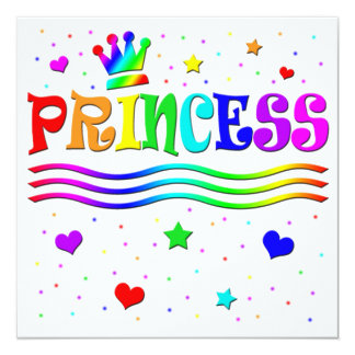 Cute Cartoon Clip Art Princess Girl Birthday Party 13 Cm X 13 Cm Square Invitation Card