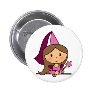 Cute Cartoon Clip Art Princess in a Pink Dress Pinback Buttons