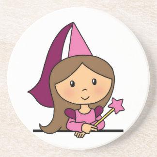 Cute Cartoon Clip Art Princess in a Pink Dress Beverage Coaster