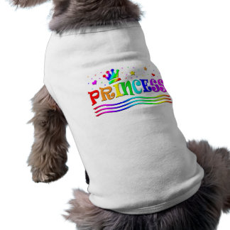 Cute Cartoon Clip Art Rainbow Princess Tiara Sleeveless Dog Shirt