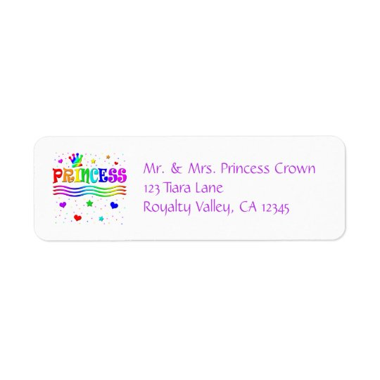 Cute Cartoon Clip Art Rainbow Princess Tiara Return Address Label