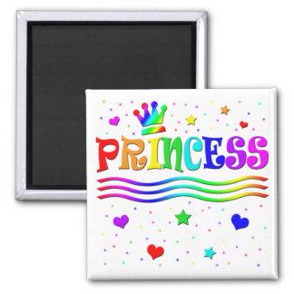 Cute Cartoon Clip Art Rainbow Princess Tiara Square Magnet