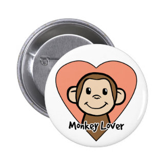 Cute Cartoon Clip Art Smile Monkey Love in Heart Pinback Button