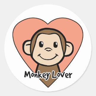 Cute Cartoon Clip Art Smile Monkey Love in Heart Round Sticker