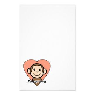 Cute Cartoon Clip Art Smile Monkey Love in Heart Customized Stationery