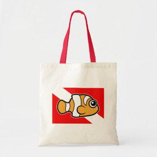 Cute Cartoon Clownfish Dive Flag Tote Bag