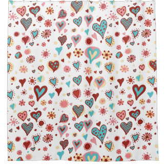 Cute Cartoon Colorful Valentines Hearts Pattern Shower Curtain