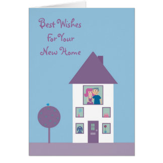Cute Cartoon Couple & Pets New Home Customizable Card