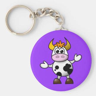 Cute Cartoon Cow Basic Round Button Key Ring