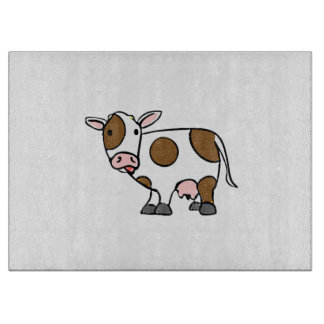 Cute Cartoon Cow Brown and White Cutting Boards