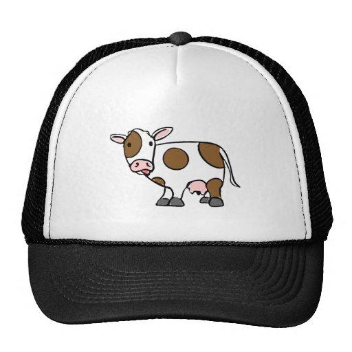 Cute Cartoon Cow Brown and White Mesh Hat