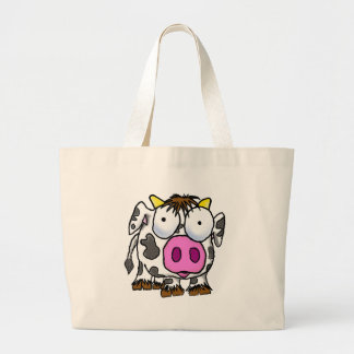 Cute Cartoon Cow Large Tote Bag