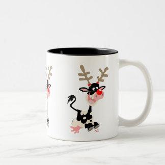 Cute Cartoon Cow Masquerading as a Reindeer Two-Tone Coffee Mug