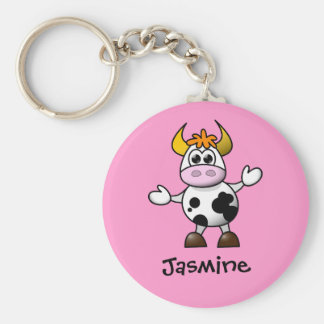 Cute Cartoon Cow Personalized Name Gift Key Ring