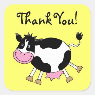 Cute cartoon cow thank you square sticker