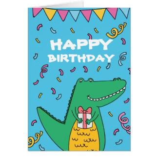 Cute cartoon crocodile birthday card