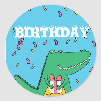 Cute cartoon crocodile birthday round sticker