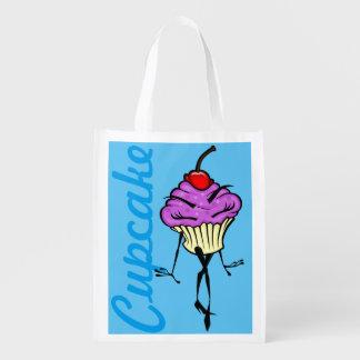 CUTE CARTOON CUPCAKE WOMAN REUSABLE BAG