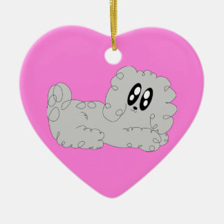 Cute Cartoon Curly Poodle Puppy Dog Christmas Ceramic Ornament