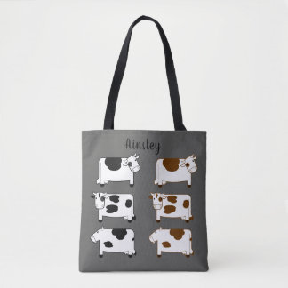 Cute Cartoon Dairy Cows Personalized Tote Bag