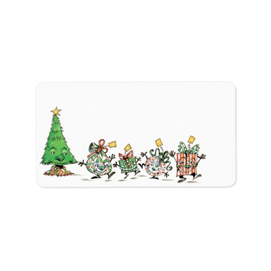 Cute Cartoon Dancing Christmas Presents and Tree Address Label