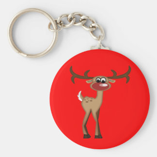 Cute Cartoon Deer Basic Round Button Key Ring