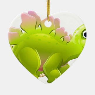 Cute Cartoon Dinosaur Stegosaurus Ceramic Heart Decoration