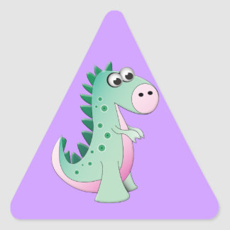 Cute Cartoon Dinosaur Triangle Sticker
