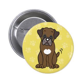 Cute Cartoon Dog Boxer Button